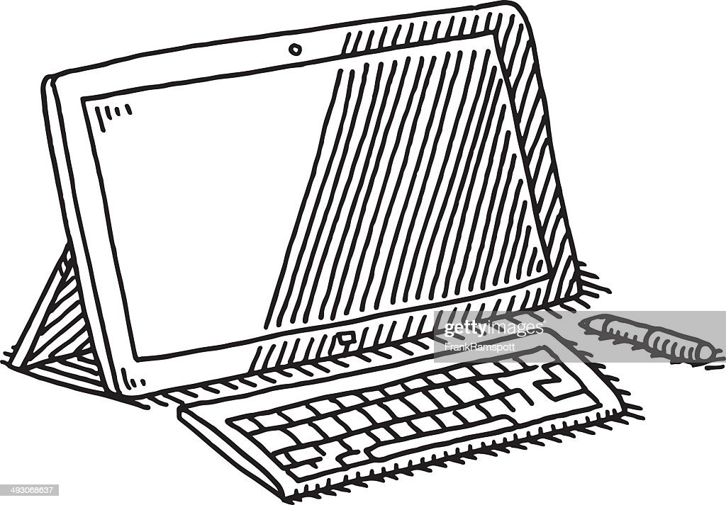 Line Drawing Keyboard : Tablet computer keyboard pen drawing vector art getty images