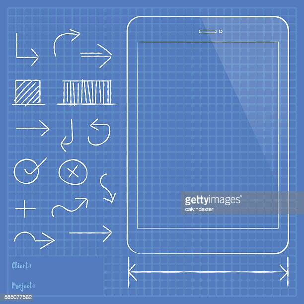 Tablet PC and design elements on blueprint