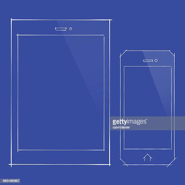 Tablet PC and Smartphone on a blueprint