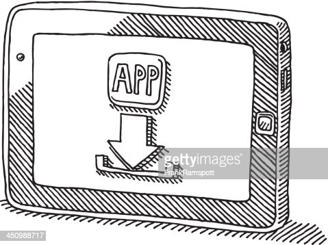 Tablet Pc App Download Icon Drawing Vector Art Getty Images