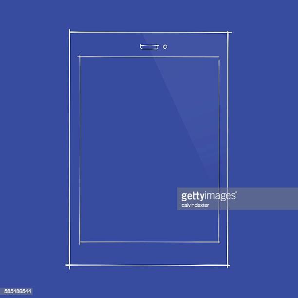 Tablet PC concept design on blueprint document