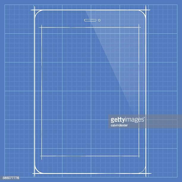 Tablet PC concept design on blueprint