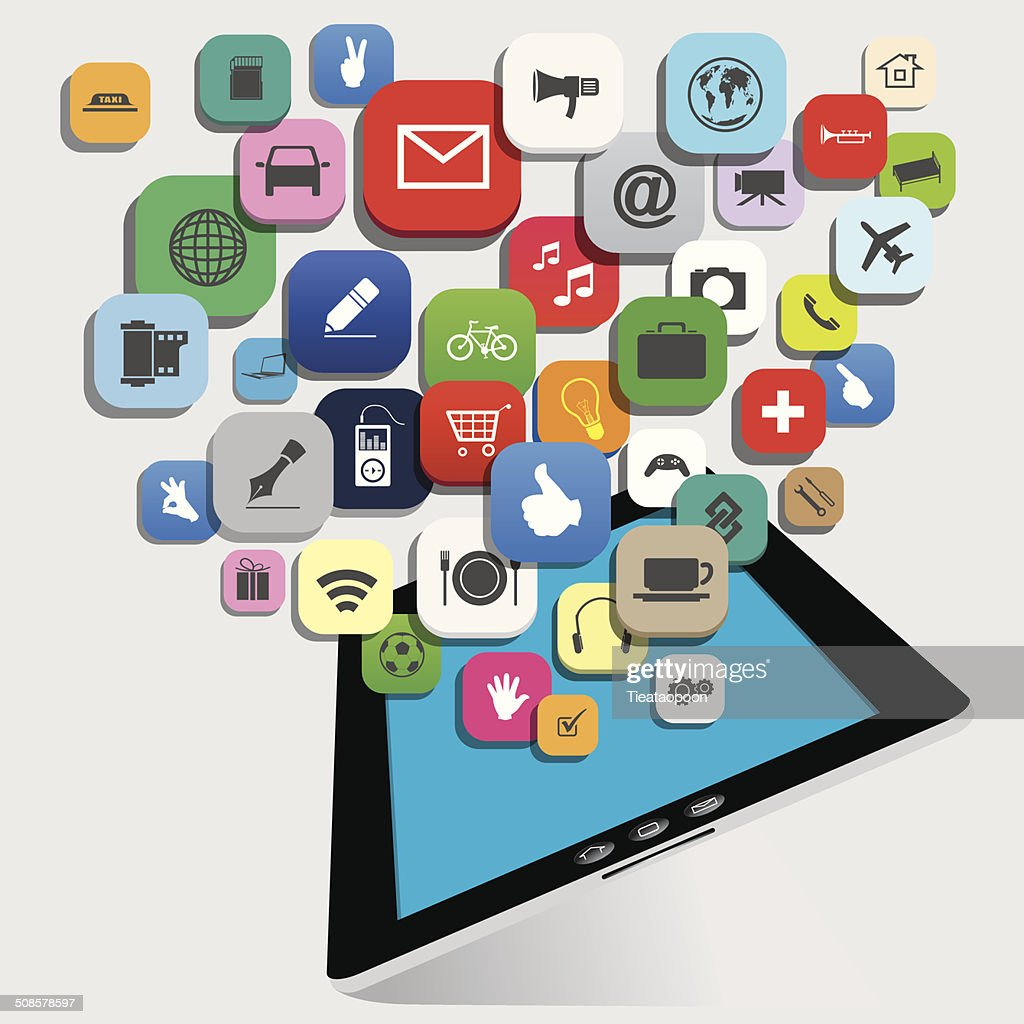 tablet with application vector : Vektorgrafik