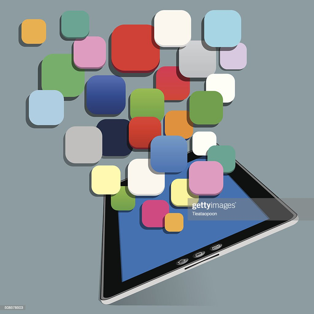 tablet with blank application vector : Vector Art