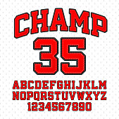 Tackle Twill style Champ typeface. Embroidered sports font. Letters and numbers. Vector illustration with transparent effect, eps10.