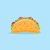 Taco isolated on blue background. Mexican fast food flat style icon. Vector illustration.