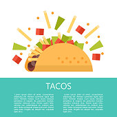 Tacos. Mexican delicious fast food in corn tortillas. Salad, meat, tomato, French fries. Sauce and lemon. Vector illustration in flat style. There is room for text. The template menu.