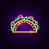 Tacos Neon Sign. Vector Illustration of Cafe Promotion.