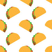 Tacos seamless pattern. Mexican food. vector illustration