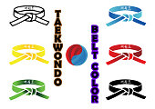 Taekwondo Belt Color. Translation : in every belt written taekwondo or kicks martial arts is an cocnept of every belt color of every level of taekwondo martial arts and origin symbol of this martial a