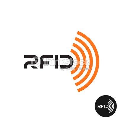 Rfidtagsymbol Textsymbol Mit Drahtlosen Radiowellen Vektorgrafik ...