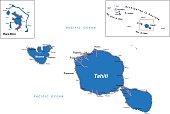 Detailed map of Tahiti and Bora-Bora.