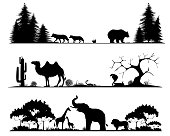 Set of silhouettes of the taiga, desert and savannah