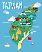 Taiwan map with colorfaul landmarks illustration design