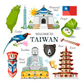 Taiwan set of traditional Taiwanese objects architecture food religion symbols buildings