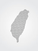 Taiwan vector map illustration using binary codes on white background to mean advancement of digital and technology