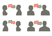 talk icon vector illustration. couple dialog with speech bubble, communication concept