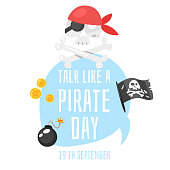 Vector cartoon style Talk like a pirate greeting card template. White background.