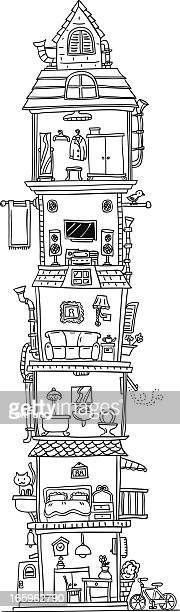 Tall building illustration in black and white
