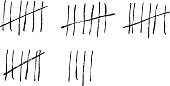 Tally marks on a prison wall. Vector illustration.