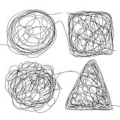 Tangle Scrawl Sketch Set Vector. Doodle Drawing Drawing Triangle, Square, Circle. Solving Problems. Depicts Haywire. Abstract Scribble Shape