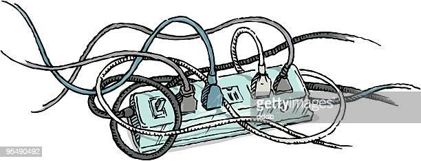 Tangled Electrical Cords plugged into a Power Strip