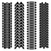 Set of four black tank track silhouettes isolated on white background