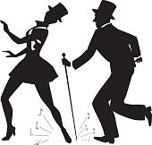 Tap dance performers in stage costume and top hats vector silhouette, no white