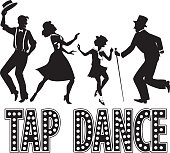 Black silhouette with retro style lettering and four performers dressed in vintage fashion, no white, EPS 8