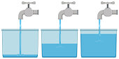 Tap water in buckets illustration