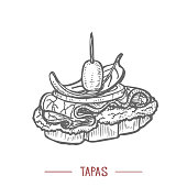 Tapas. Traditional Spanish Food in Hand Drawn Style for Surface Design Fliers Banners Prints Posters Cards Menu. Vector Illustration