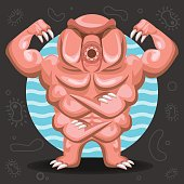 Illustration of tardigrade water bear microorganisms