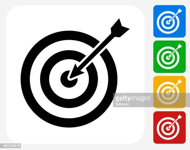 Objetivo y flecha iconos planos de diseño gráfico