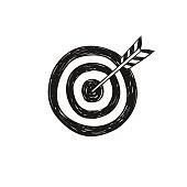 Target and arrow doodle sketch. Target icon vector illustration.