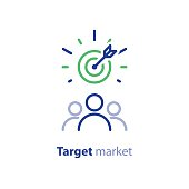 Target market concept, audience, focus group, crowdsourcing and crowdfunding, public relations, vector line icon