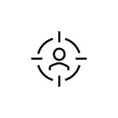 Line icon of target audience sign. Consumer, client, customer. Trade management concept. Can be used for topics like business, consumerism