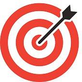 Target icon, modern minimal flat design style. Darts vector illustration