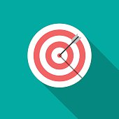 Target icon with long shadow. Flat design style. Dartboard silhouette. Simple icon. Modern flat icon in stylish colors. Web site page and mobile app design element.