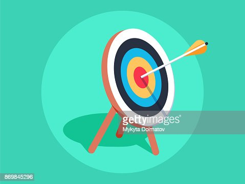 Target on wooden tripod with arrow in cente. Goal setting. Smart goal. Business target concept. Achievement and success. : stock vector