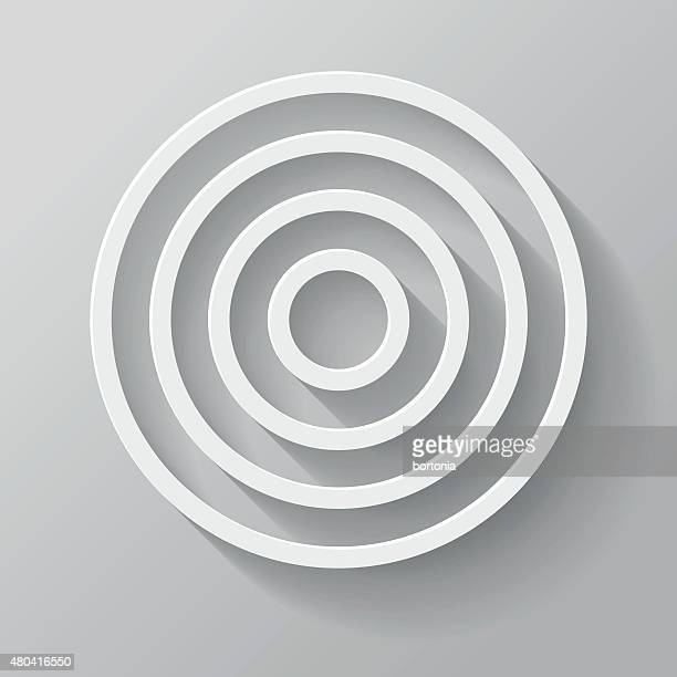 Target Paper Thin Line Interface Icon With Long Shadow