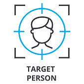 target person thin line icon, sign, symbol, illustation, linear concept vector