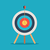 Target with arrow in the center, standing on a tripod. Goal achieve concept. Vector illustration isolated on blue background