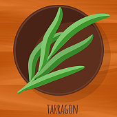 Tarragon flat design vector icon. Flavor spices and herbs menu template collection.