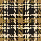 Tartan check plaid pattern seamless vector background. Abstract plaid in dark grey and gold for flannel shirt, poncho, blanket, or other fashion textile design. Woven herringbone pixel texture.
