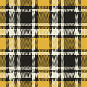 Tartan check plaid pattern seamless vector background graphic in brown, beige, and yellow. Herringbone woven pixel plaid for flannel shirt, poncho, blanket, or other modern fashion textile design.