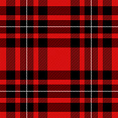 Tartan pattern. Scottish cage. Scottish red checkered background. Scottish plaid in red and black colors. Lowercase fabric texture. Vector illustration