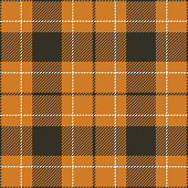 Tartan pattern. Seamless check plaid vector graphic background in brown, orange, and white for skirt, flannel shirt, or other modern textile design. Woven pixel texture.