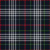 Tartan plaid pattern seamless vector graphic. Check plaid in nearly black, red, green, and white for skirt, flannel shirt, or other modern fabric design. Woven pixel texture.