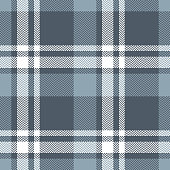 Tartan plaid pattern vector illustration. Seamless check plaid graphic in grey, blue, and white for poncho, scarf, flannel shirt, blanket, or other fashion clothing design. Herringbone pixel texture.