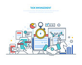 Task management, productivity, planning, coordination. Time management, business analysis and research, marketing strategy. Growth result of activity, business success. Illustration thin line design.
